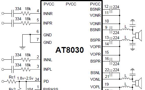 单芯片2.0声道防破音D类音频功放芯片AT8030