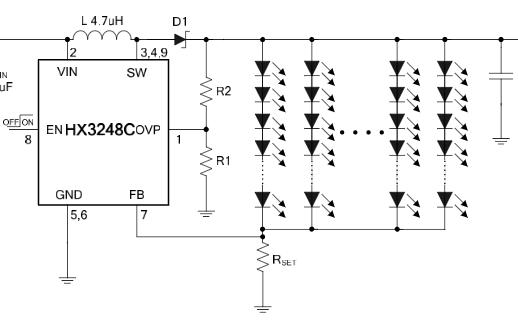 恒流驱动LED升压型DC-DC转换器芯片HX3248C
