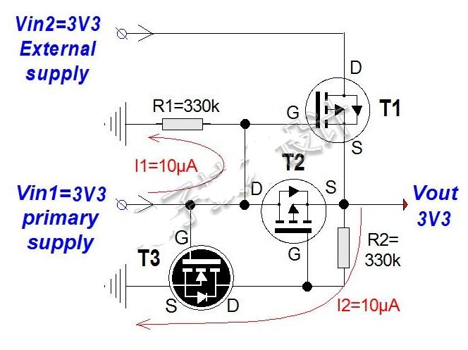 在3.3V MCU板上对两种低压电源进行简单廉价的线或处理