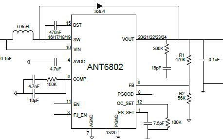 高效高功率同步整流升压DC-DC芯片AMT6802