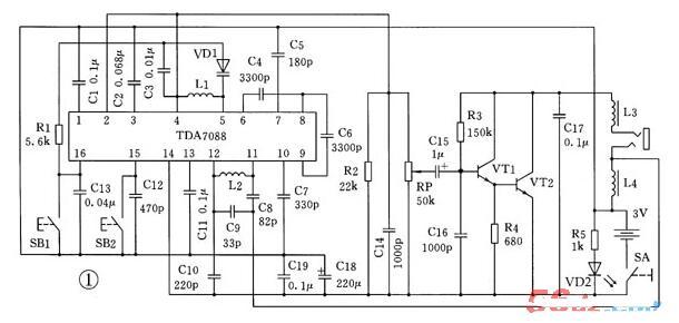 調頻TDA7088集成電路應用電路