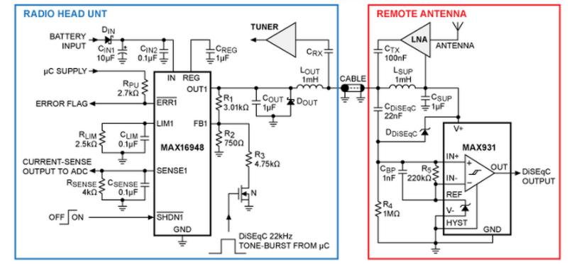 使用MAX16948 的幻象天线电源系统设计