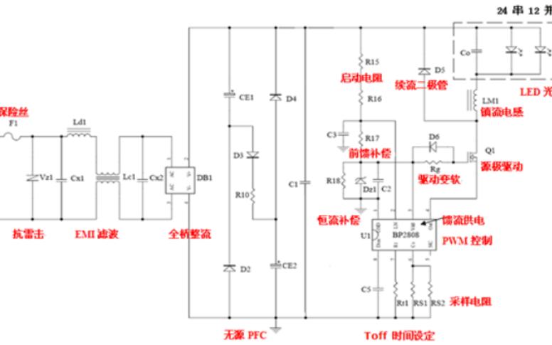 基于BP2808的LED照明灯具电源应用与设计