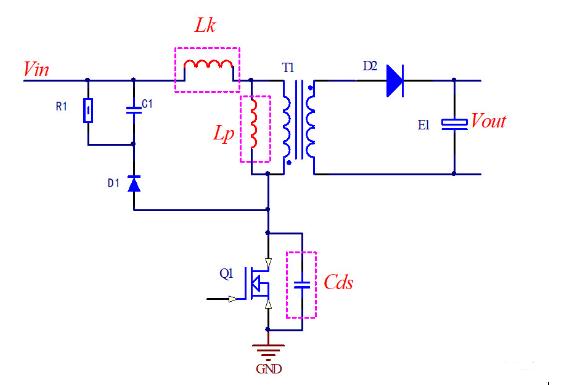 RCD鉗位電路的工作原理,RCD不同電阻下的波形分析