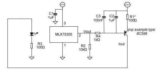 LED燈閉環強度控制和MLX10803 LED驅動器的原理圖