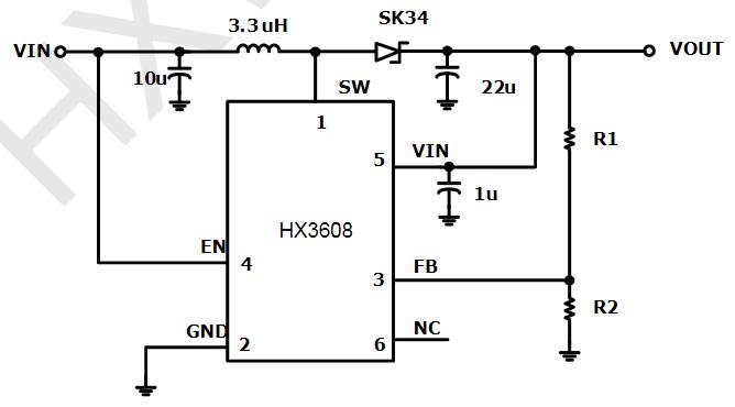 高效DC-DC升压调整器芯片HX3608数据手册