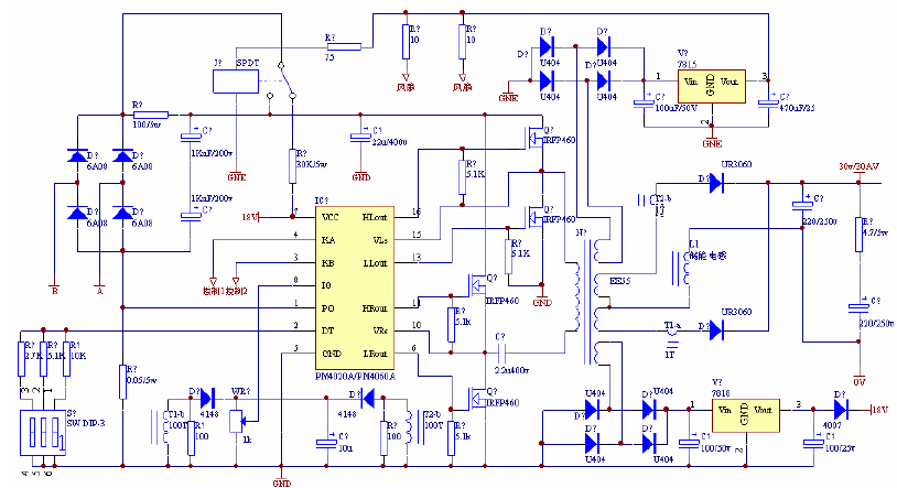 基于PM4020A驱动模块的1200W开关电源