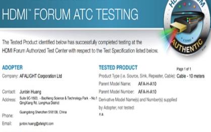 国产芯片光电模组取得HDMI?2.1主动式超高速线缆认证