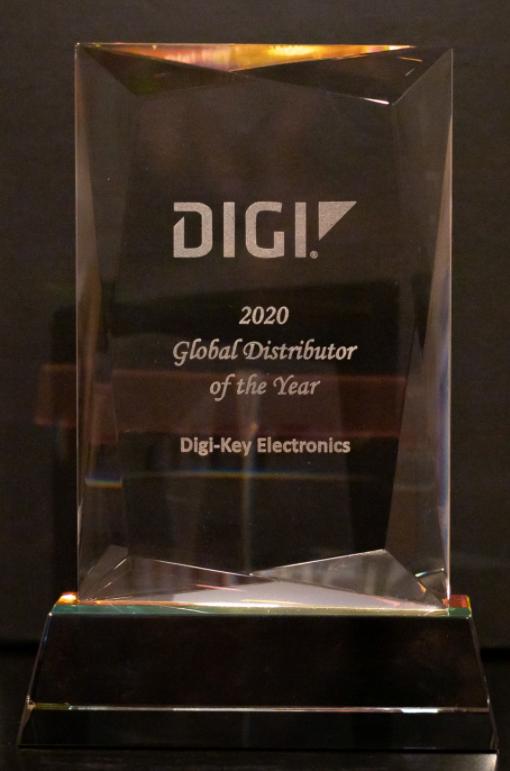 Digi-Key Electronics连续第四年被Digi International评为年度全球分销商