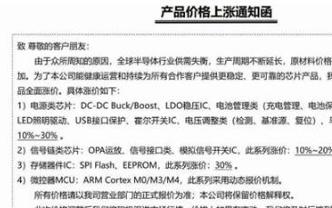 富鸿创芯全面调涨芯片价格 芯龙半导体全线产品涨价