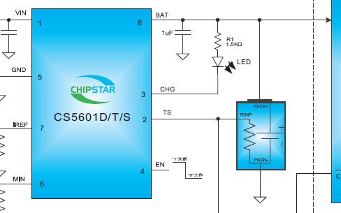 750mA单节锂/锂聚合物电池芯片CS5601D/T/S