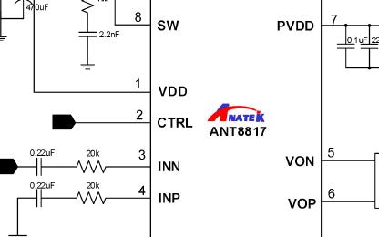同步自适应DC升压H类单声道音频芯片ANT8817