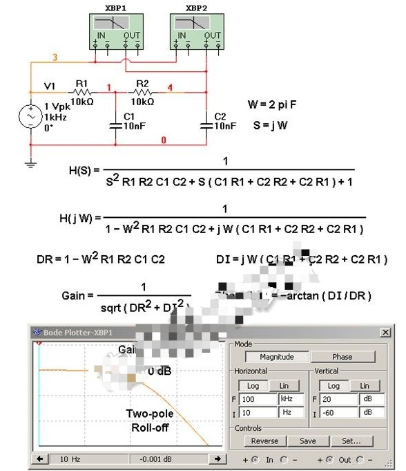基于使用双极点RC低通滤波器推导代数传递函数