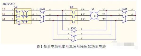 PLC控制的继电器/接触器星三角降压单向起动电路...