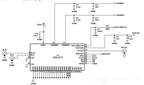 基于ADI ADL6317輔助射頻(RF)增益增...