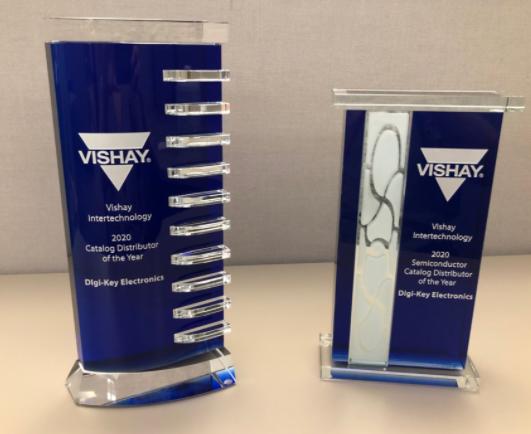 Digi-Key Electronics获评Vishay北美年度目录分销商和年度目录半导体分销商