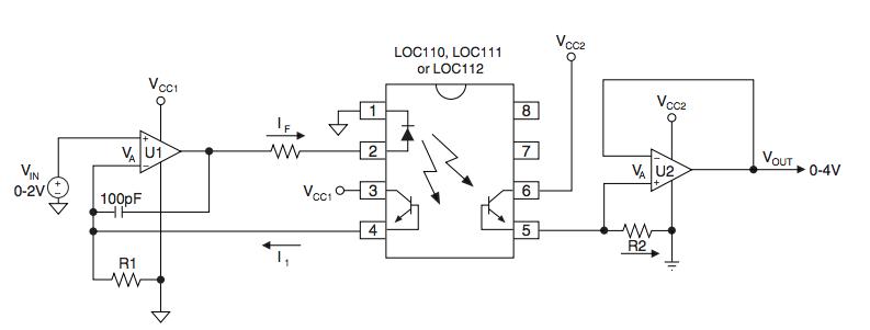 浅谈LOC系列线性光耦合器器件的隔离放大器设计