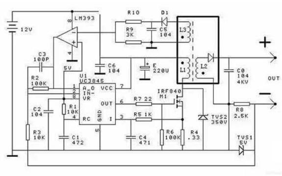 開關電源式高耐壓恒流源電路圖