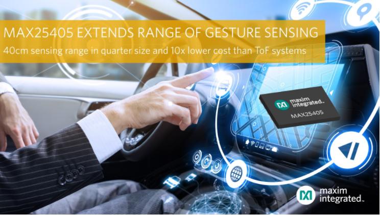 Maxim最新發布基于紅外的動態手勢傳感器,能夠在更遠的距離檢測各種手勢,確保駕駛員專注于道路