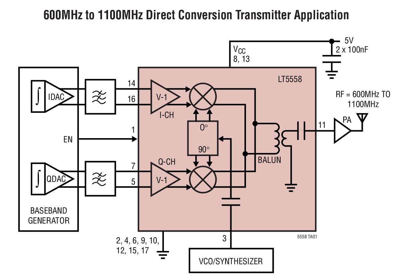 基于LT5558_Typical Application调制器的参考设计