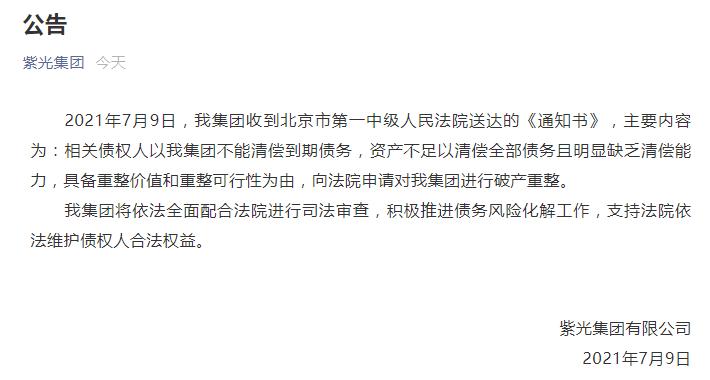 杉果游戏官网_紫光集团被申请破产重整