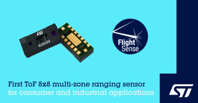 意法半导体发布8x8区测距飞行时间传感器,赋能应...