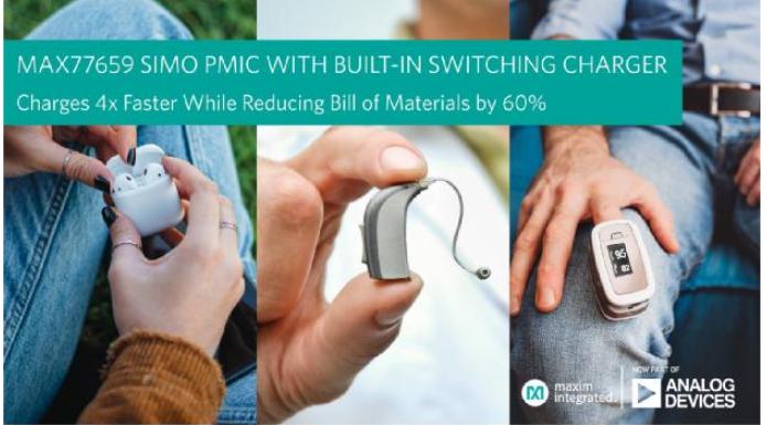 ADI推出微小尺寸电源管理IC,将可穿戴和耳戴式设备的充电速度提高4倍