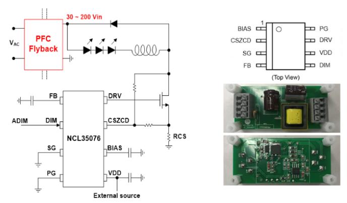 基于NCL35076或NCL30076的高能效、高精度、高可靠性的可調光LED照明降壓方案