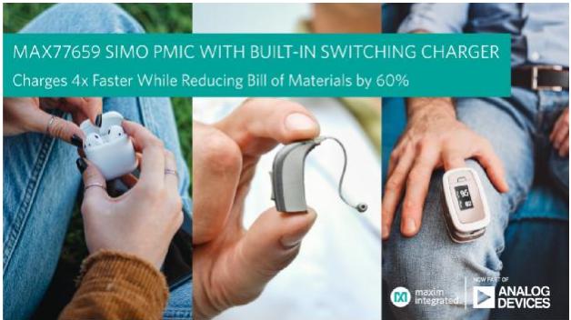 ADI公司推出微小尺寸电源管理IC,将可穿戴和耳戴式设备的充电速度提高4倍
