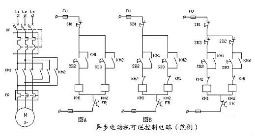 电机控制电路接线图(异步电动机可逆控制电路/控制电机正反转/单向运行电气控制线路)
