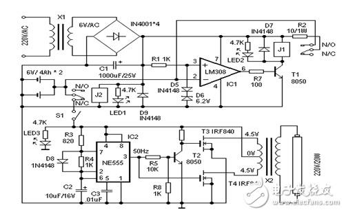 应急灯电路原理图(应急灯充电电路/移相触发无极调光灯电路/照明灯关灯自动延时熄灭电路)