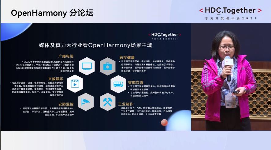 华为开发者大会2021 媒体及算力大行业看OpenHarmony场景主域